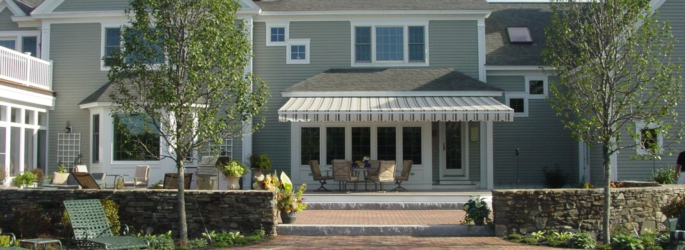 block heather fabric awnings awning nuimage shown beige stripe fern nushade with sunbrella retractable patio
